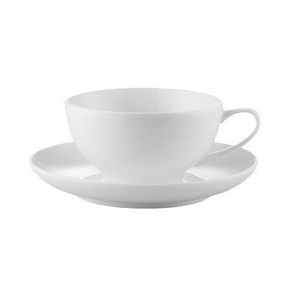 CAC ENG-1 8-oz English Cup & Saucer Set - Porcelain, New Bone White
