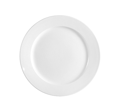 "Cac International FR21 12"" Franklin Plate - Rolled-Edge Ceramic, European White"