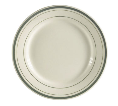 "CAC GS-16 10.5"" Greenbrier Dinner Plate - Plain, (3) Green Bands"