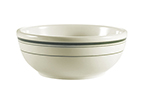 "Cac International GS16 10.5"" Greenbrier Dinner Plate - Rolled-Edge Ceramic, Green Band/American White"