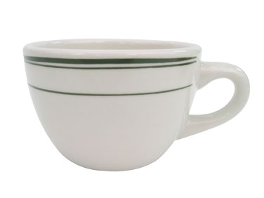 CAC GS-37 Greenbrier Coffee Cup - Plain, (3) Green Bands
