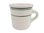 Cac International GS4 7.25-oz Greenbrier Bouillon Cup - Ceramic, Green Band/American White