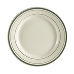 "CAC GS8 9"" Greenbrier Dinner Plate - Rolled-Edge Ceramic, Green Band/American White"