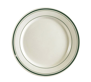 "CAC GS9 9.75"" Greenbrier Dinner Plate - Rolled-Edge Ceramic, Green Band/American White"