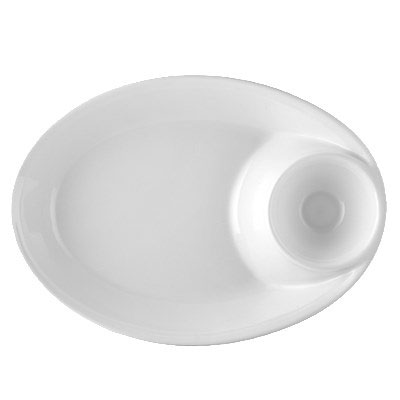 CAC MX-OB14 65-oz Oval Chip & Dip Bowl - Porcelain, Super White