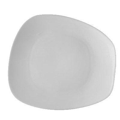 """CAC OAK-21 Oak Trapezoid Plate - 12.38"""" x 11.25"""", Porcelain, New Bone White"""