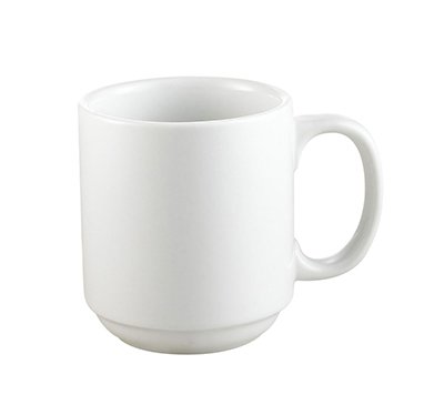 Cac International PRM10P 10-oz Prime Mug - Stacking, Porcelain, Super White