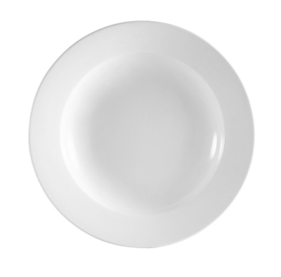 CAC RCN-3 Super White Rolled Edge Pasta Bowl, Clinton, Round