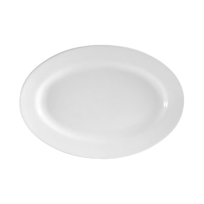 CAC RCN-13 Super White Rolled Edge Platter, Clinton, Oval