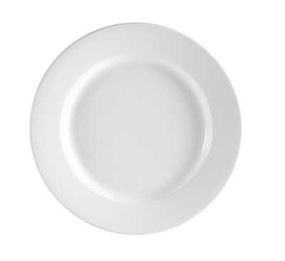 CAC RCN-8 Super White Rolled Edge Dinner Plate, Clinton, Round