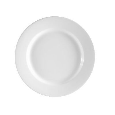 CAC RCN-21 Super White Rolled Edge Dinner Plate, Clinton, Round