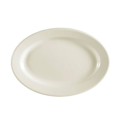 "Cac International REC13 11.5"" REC Oval Platter - Ceramic, American White"