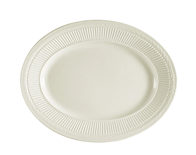 "Cac International RID14 12"" Ridgemont Oval Platter - Ceramic, American White"