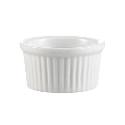 CAC RKF3W 3-oz RKF Ramekin - Fluted, Porcelain, Super White
