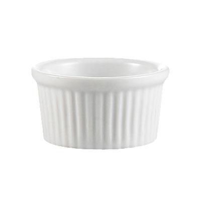 Cac International RKF3W 3-oz RKF Ramekin - Fluted, Porcelain, Super White
