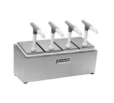 Grindmaster - Cecilware 444G Condiment Rail, 4-Giant Pumps, 2.5-qt Jars, Covers, Non-Insulated