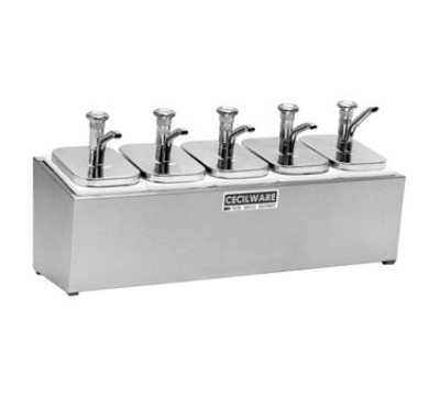 Cecilware 444M Pump Style Condiment Dispenser w/ (4) 2-oz/Stroke, Stainless