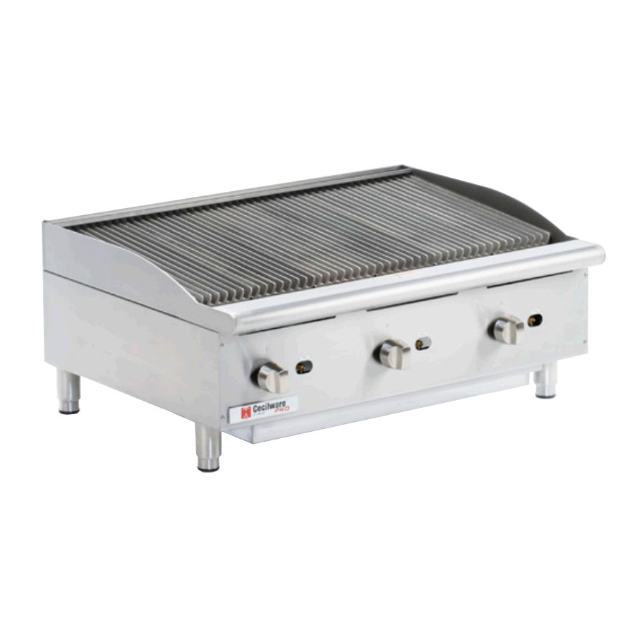 Grindmaster - Cecilware CCP36 Countertop Gas Charbroiler - (3) Burners, Cast Iron Grates, Manual, 120,000-BTU