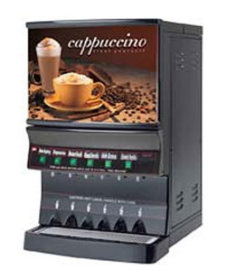 Cecilware GB8MP-10-LD-U 8-Flavor Cappuccino Machine w/ (1) 10-lb & (7) 5-lb Hoppers, 120v