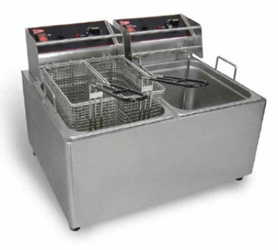 Cecilware EL2X15 Countertop Electric Fryer - (2) 15-lb Vat, 120v