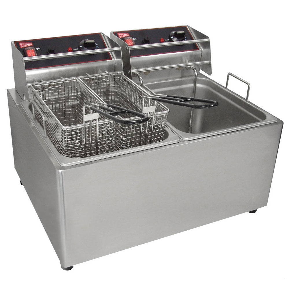 Cecilware EL2X25 Countertop Electric Fryer - (2) 15-lb Vat, 240v/1ph