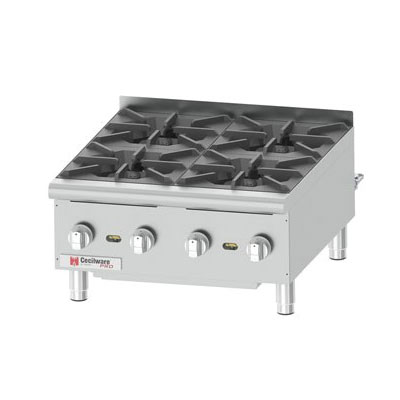 "Cecilware HPCP424 24"" Countertop Gas Hot Plate w/ (4) Burners, Manual Controls"
