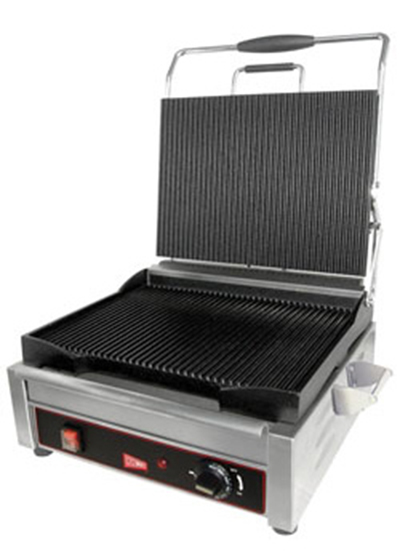 Cecilware SG1SF Commercial Panini Press w/ Cast Steel Smooth Plates, 120v