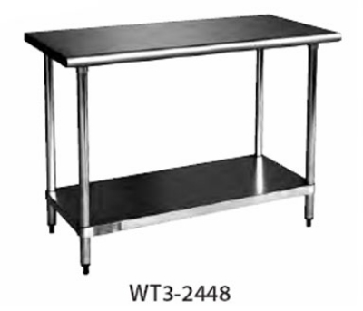 Cecilware/Grindmaster WT4-3096N Worktable 30 in x 96 x 35 Bullnose Edges 430 Stainless Top Restaurant Supply