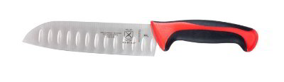 Mercer Cutlery M22707RD 7-in Millennia Primary-4 Santoku Knife w/ Granton Edge, Red