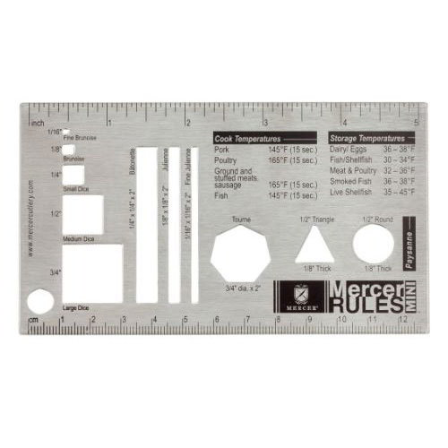 Mercer Cutlery M33243 Mini Mercer Rules w/ US & Metric Measurements, Fits in Shirt Pocket, Stainless