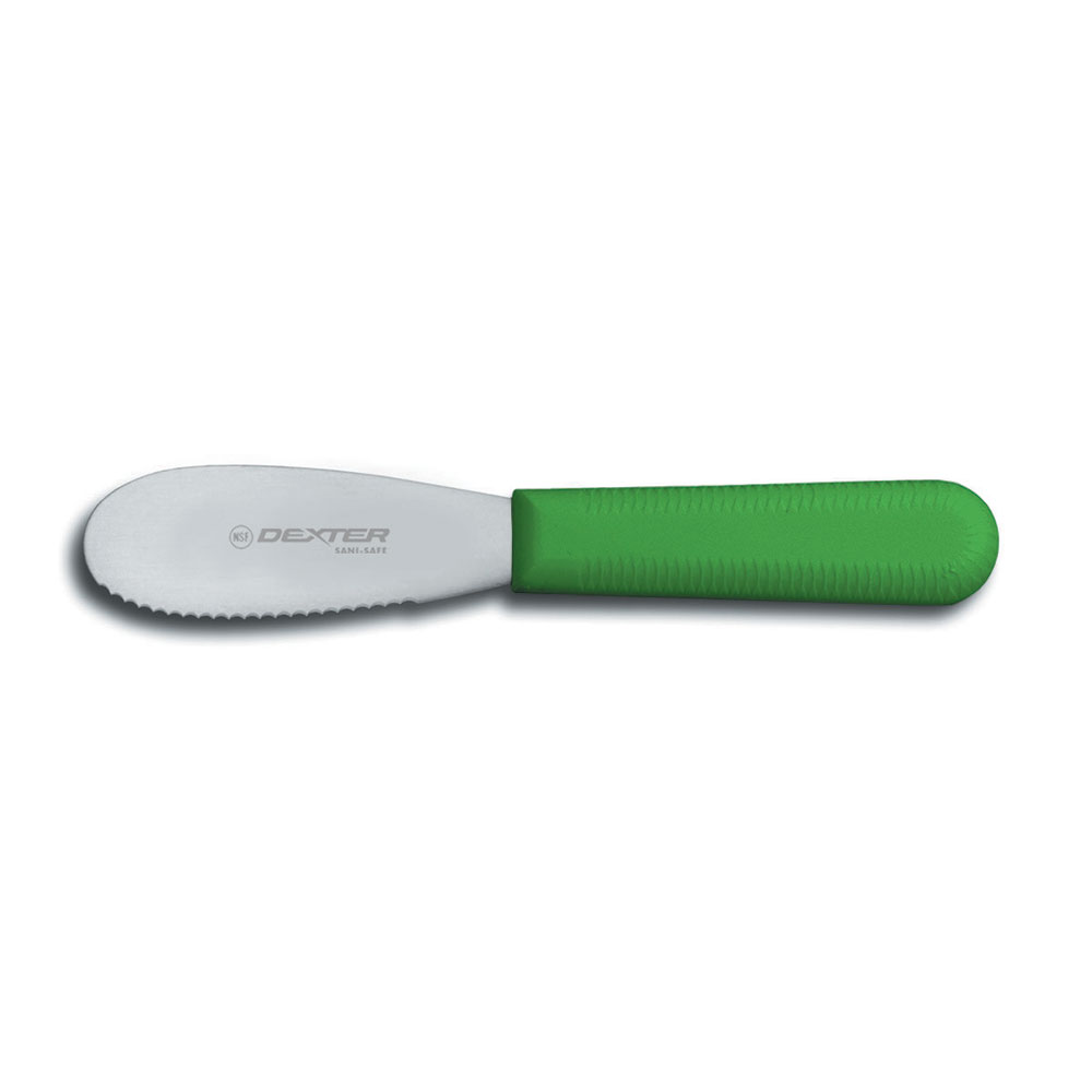 """Dexter Russell S173SCG-PCP 3.5"""" Scalloped Sandwich Spreader, Stainless, Poly Handle, Green"""