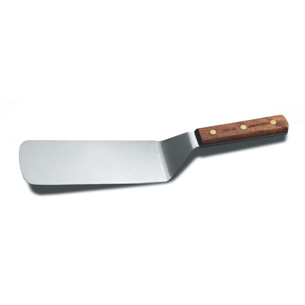 "Dexter Russell S8698PCP 8""x3"" Grill Turner w/ Rosewood Handle, Stainless Steel"