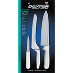Dexter Russell SS3 3-Piece Sani-Safe® Cutlery Set w/ Polypropylene White Handle