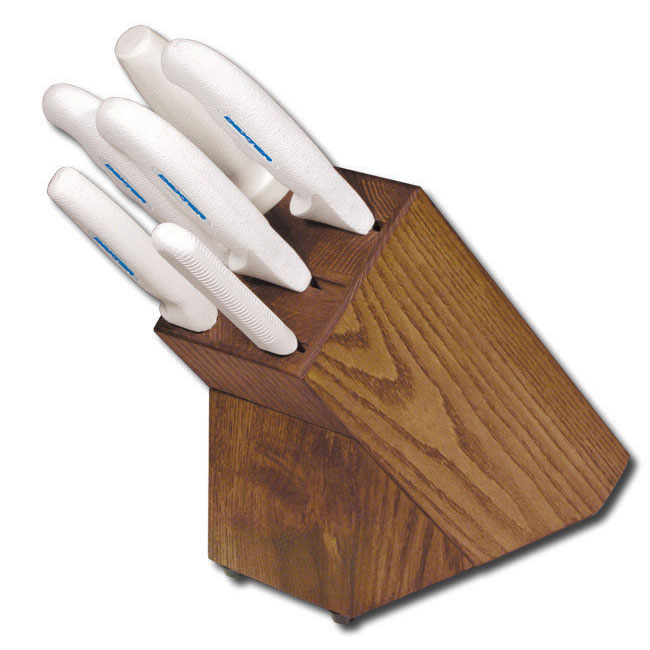 Dexter Russell HSG-3 7-piece Knife Block Set w/ White Soft Rubber Handles, Carbon Steel
