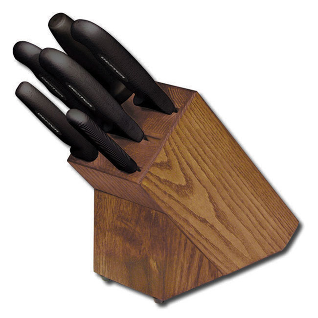Dexter Russell HSGB-3 7-piece Knife Block Set w/ Black Soft Rubber Handles, Carbon Steel