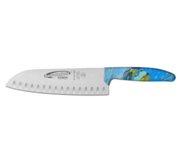 Dexter Russell SF144-7GEO-CP Sani-Sations 7 in Duo-Edge Santoku Knife Oceana Design Handle Restaurant Supply