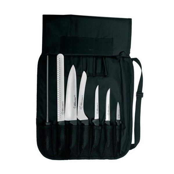 Dexter Russell SGBCC-7 7-Piece Cutlery Set w/ Soft Back Rubber Handles, Carbon Steel