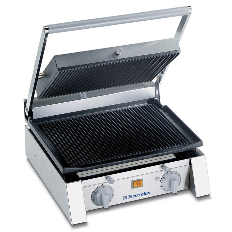 "Electrolux 602104 15"" Panini Grill - Ribbed Surface, Cast Iron Plates, Stainless Steel, 120/1V"