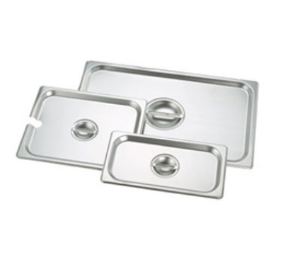 Crestware 5140 Steam Table / Holding Pan Cover, 1/4 Size, Flat, Stackable, Stainless