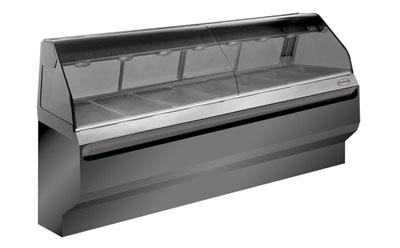 Alto Shaam ED2SYS-96/2S-BLK 96-in Display Case w/ 2-Tiers & Curved Glass, Sliding Rear Doors, Black