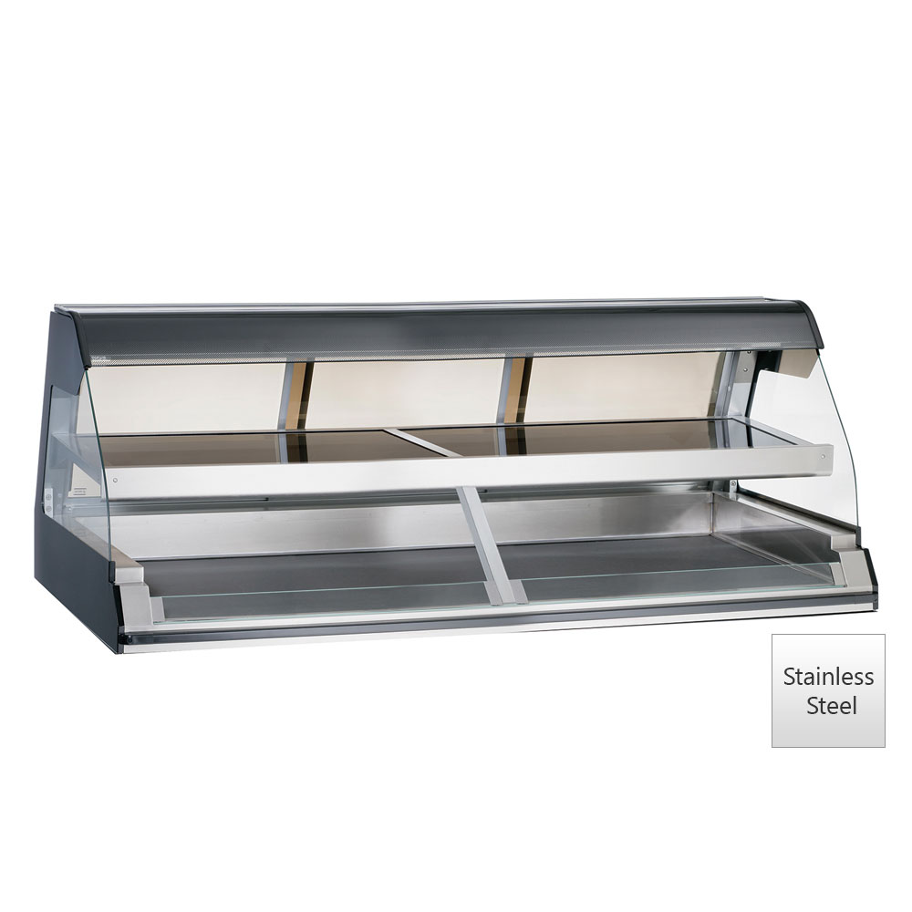 """Alto Shaam ED2-72/2S-SS 2081 72"""" Self-Service Countertop Heated Display Case w/ Curved Glass - (2) Levels, 208-240v/1ph"""
