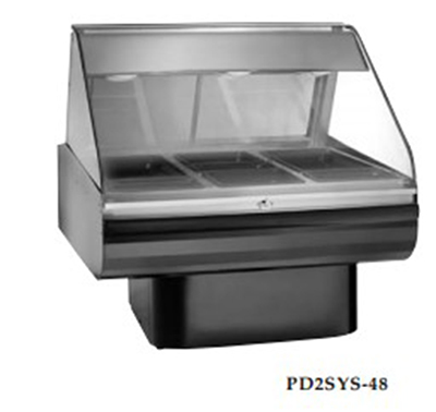"Alto Shaam PD2SYS-48/P-SS 120 48"" Display Case, Pedestal Base & Work Shelf, Stainless, 120/208-240/1 V"
