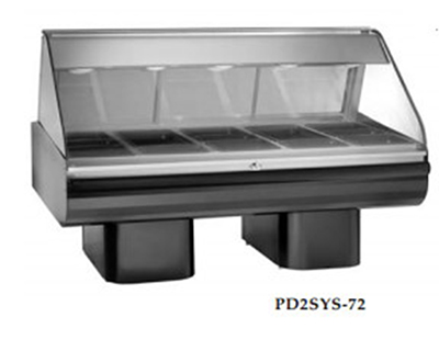 "Alto Shaam PD2SYS-72/P-SS 230 72"" Display Case, Pedestal Base & 36"" Work Shelf, Stainless, Export"