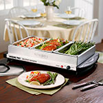 Waring BFS50B Professional Buffet Server Warming Tray w/ 3-Chafing Dishes & 3-Lids, Stainless