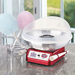 Waring CC150 Cotton Candy Maker w/ Reusable Cones & Splashguard Hub, Metallic Red