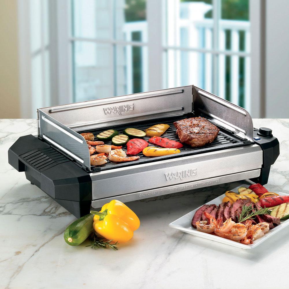 Waring CIG100 Countertop Cast Iron Grill w/ 6-Burger Capacity & 3-Temperature Settings