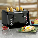 """Waring CTT400BK Toaster w/ Cool Touch Housing & Shade Control, (4) 1.3"""" Slots, Black"""