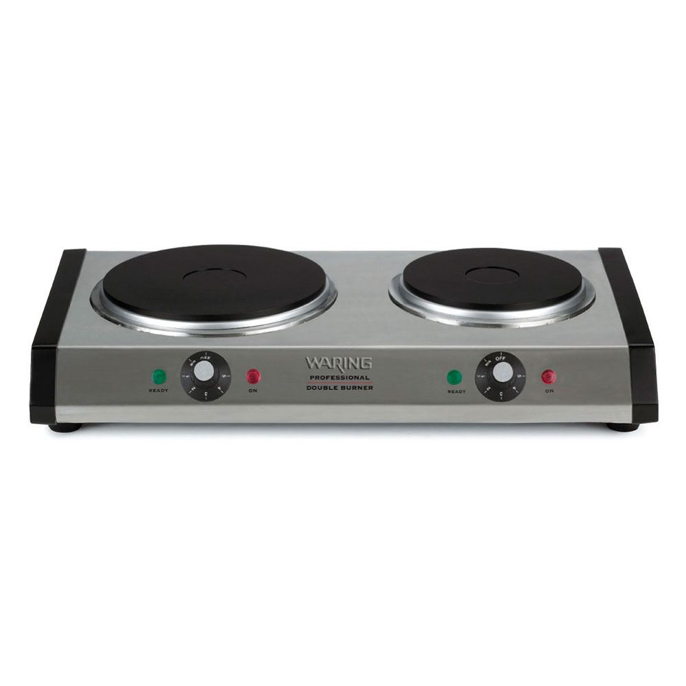 Waring DB60 Portable Double Burner w/ Cast Iron Plate, Brushed Stainless