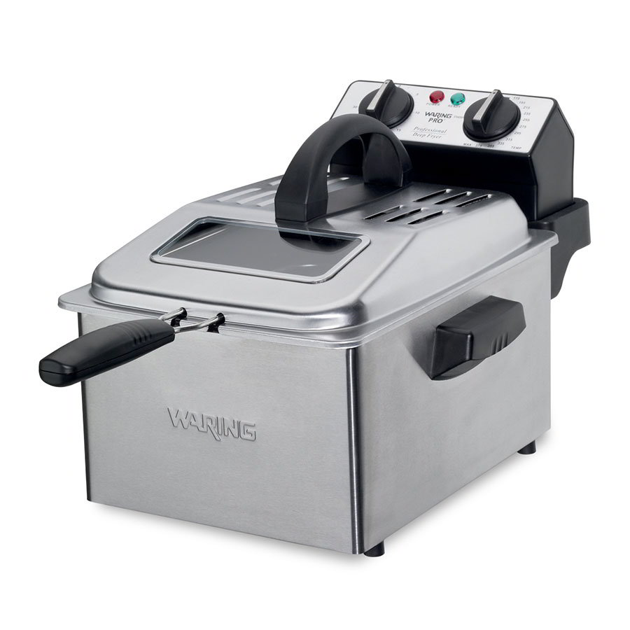 Waring DF250B 1-Gallon Deep Fryer w/ Mesh Basket & Timer, Brushed Stainless