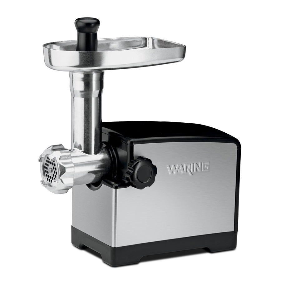 Waring MG105 Meat Grinder w/ 3-Cutting Plates, Brushed Stainless Housing & Die-Cast Hopper